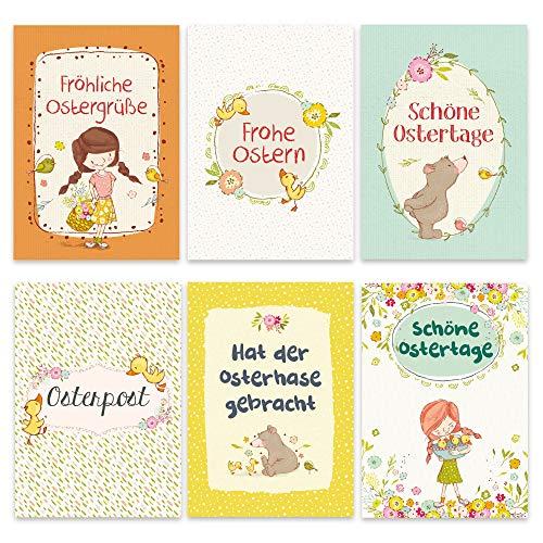 Set van 12 liefdevol vormgegeven ansichtkaarten voor Pasen - wenskaarten set