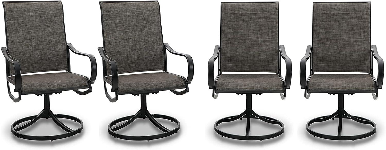 PHI VILLA Patio Swivel Dining Chairs Set of 4 Outdoor Kitchen Garden Metal Chair with Textilene Mesh Fabric, Patio Furniture Gentle Rocker Chair, Black Frame