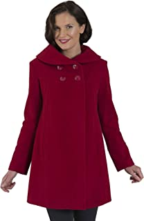 Coat Man 3/4 Double Breasted Shawl Collar Swing Coat with Inverted Back Pleat
