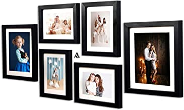 AG Crafts™ Black Collage Photo Frame Set of 8x10-2, 6x8-4 pic with Mount Best Glass and Best for Wall Decor (Black)