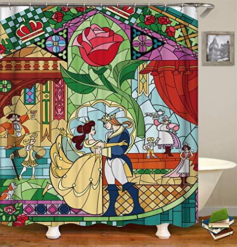 ZZZdz Der Prinz Und Die Prinzessin Im Märchen Tanzen. Duschvorhang 3D Hd-Druck Verblasst Nicht 180X180 cm Wasserdichtes Gewebe 12 Freie Haken Hauptdekoration.
