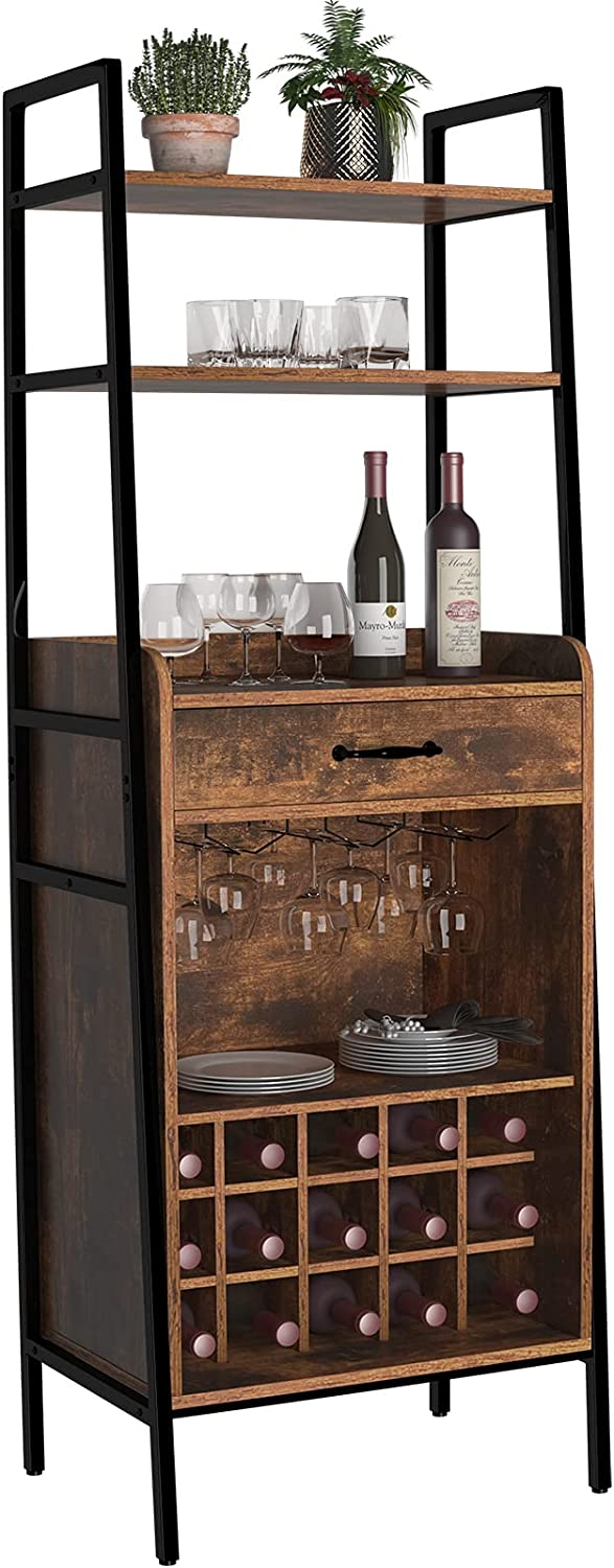 GDLF Industrial Style Wine Cabinet Bar with Storage Ladder Shelves for Home Kitchen Dining Room,65