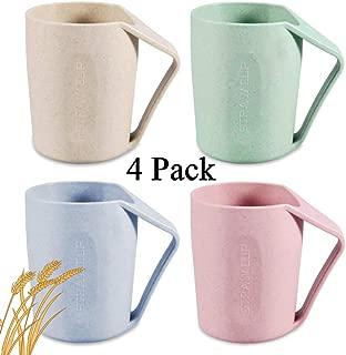 Wheat Straw Mug , Mosuch Toothbrush Mug Cups for Brushing Toothbrush Biodegradable Wheat Straw Cup for Bathroom Unbreakable Mug for Water, Coffee, Milk, Juice, Tea 4 PCS.