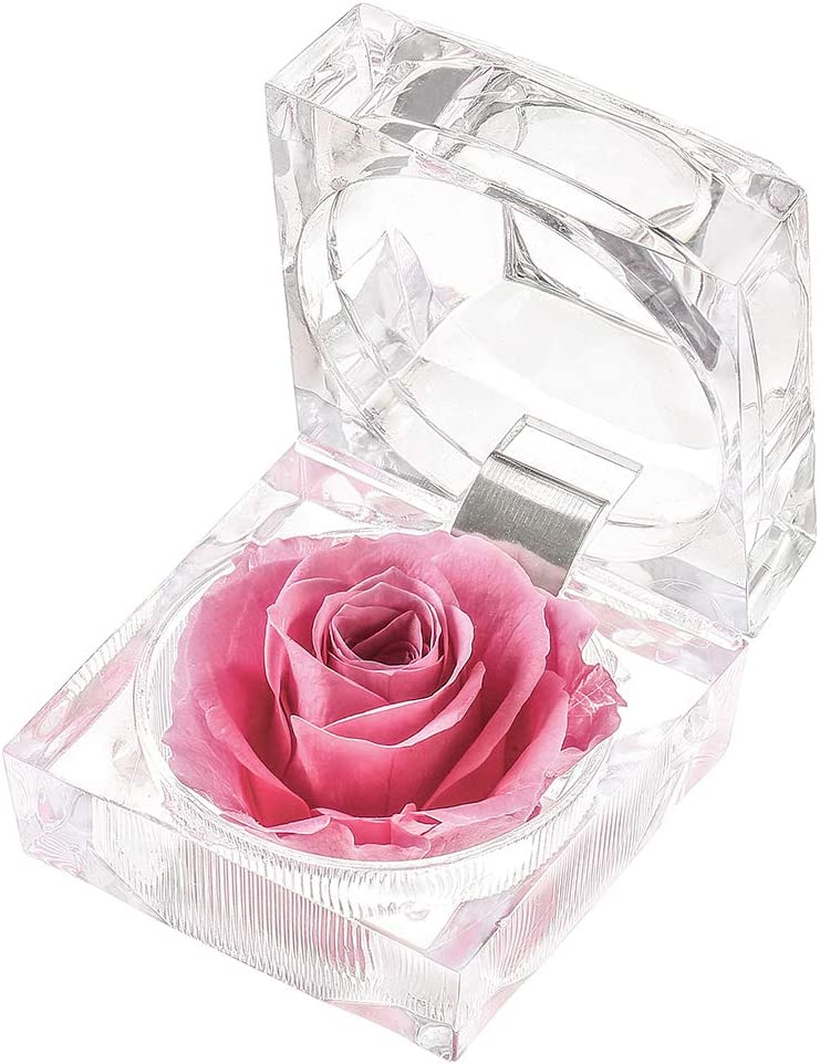Forever Rose in Acrylic Crystal Ring Box Handmade Real Preserved Fresh Flower Best Romantic Gift for her Mother's Day Christmas Unique Surprise Mom ...