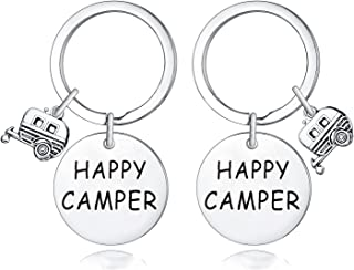 2 Pack Happy Camper Keychains Camping Keychain Keyring Gift For Camper Lover Vacation Keychain