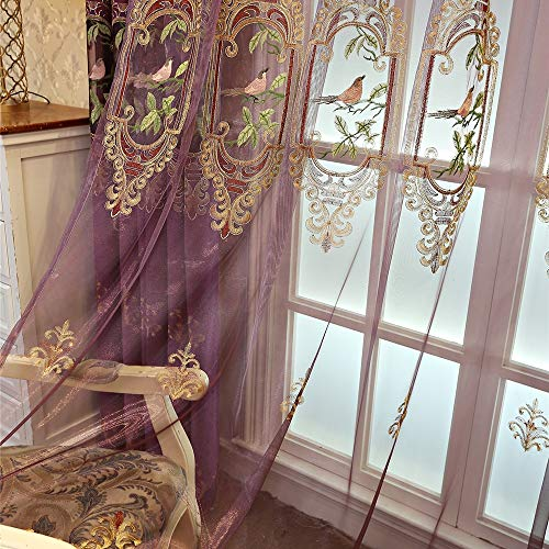 WWZZ Chenille Curtains Hollowed Floral Bird Patterned Blackout Curtains Sheer Embroidered Curtain Panels for Bedroom Living Rooms, Grommet Top, Purple,Sheer,W135xL185cm