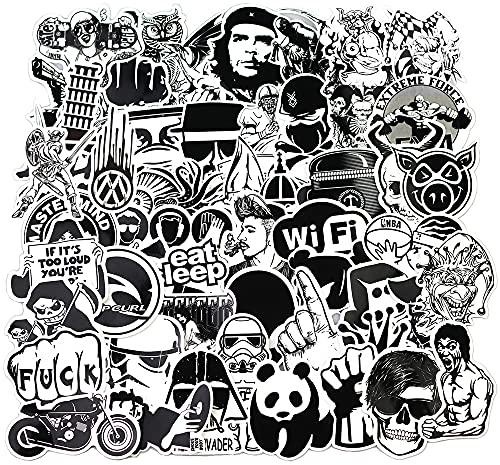 Sanmatic Autocollant Lot Pack [120pcs], Stickers Autocollants Noir et Blanc Vinyle pour Ordinateur Portable, Voitures, Moto, Bicyclette, Bagages Skateboard, Autocollants pour Voiture Bombe Étanche