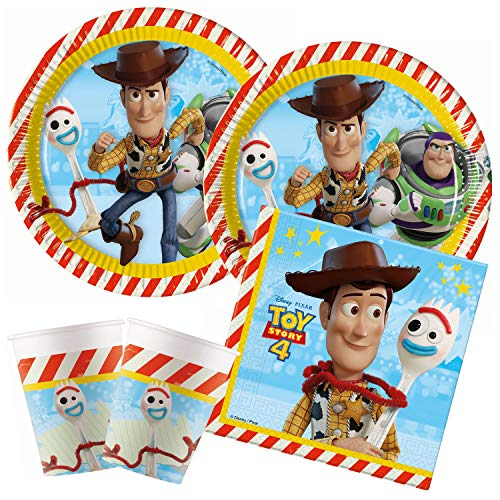 Procos – Kinderpartyset Disney Toy Story 4, Teller, Becher, Servietten, Tischdeko, Kindergeburtstag, Grillparty, Motto Party