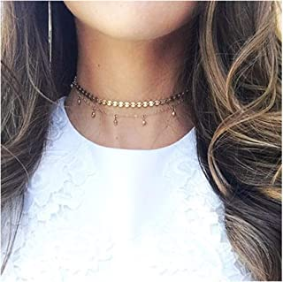 Olbye Gold Layered Necklace Sequin Choker Necklace Double Layer Necklace for Women and Girls