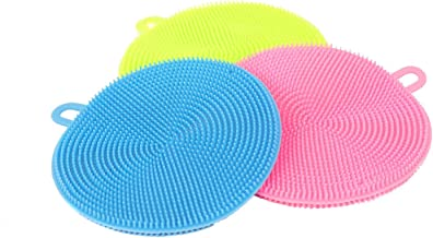 AB SALES Silicone Sponge, Antibacterial Multicolor Kitchen Silicone Sponge Multipurpose Dish Washing Brush Scrubber Cleaning Sponges for Dish Pan Pot Vegetable Fruits, Multi Colour (3)