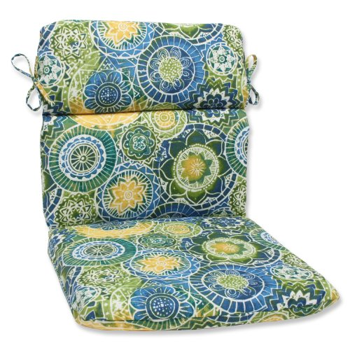"Pillow Perfect Outdoor/Indoor Omnia Lagoon Round Corner Chair Cushion, 40.5"" x 21"", Blue"