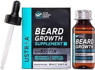 Ustraa Beard Growth Supplement - 60 ml with BIOTIN & Natural Herbs