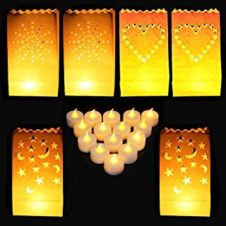 DECATETA 30 PCS Bolsas Decorativas para Velas,Linternas de Papel Bolsas con 3 Formas,Bolsas de Luz Pantalla Papel Luminaria de Velas para Hogar Fiesta Romántica Decoración de la Boda