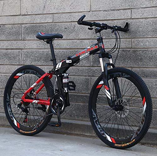 GASLIKE Bicicleta de montaña Plegable de 26 Pulgadas para Hombres y Mujeres Adultos, Bicicleta de montaña de Doble suspensión de Acero con Alto Contenido de Carbono, Freno de Disco de Acero