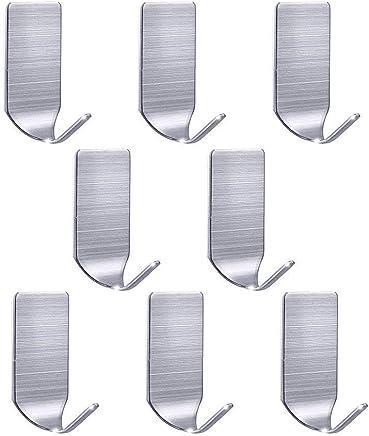 壁 傷 フック 粘着 フック つけない 壁掛けフック 強力 はがせる ステンレス 壁フック 玄関ドア ハンガー トイレ小物 リース 額縁掛け 静電防水 小サイズ 8個入りセット