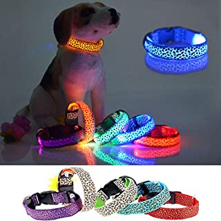 Pesp LED Luminous Pet Dog Collar Leopard Glowing Flash Puppy Collar for Night Safety Light-up Adjustable Necklace for Small Medium Large Dogs