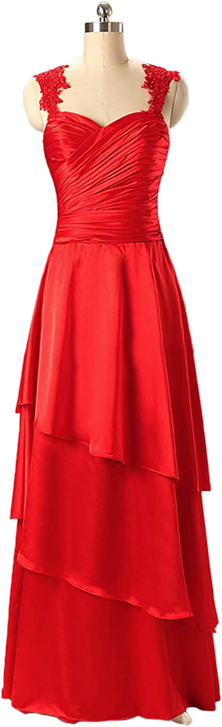 DINGZAN Lace Cap Sleeves Satin Long Formal Party Dresses Bridesmaid Gowns