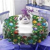 Letra U Multi-patrón redondo mantel Candy Canes Setas Ángel Figura en árbol de Navidad Composición estacional y letra U Sensación cálida Diámetro 55' Multicolor