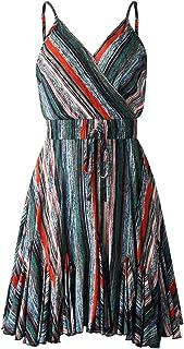 Verano Moda de Verano de la Moda de Color de la Liga de Cuello en V Vestido de Mujer