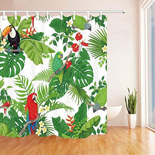 N/ Bunte Papageien und Tukan Duschvorhang Badezimmer Dekor & 12hooks 183X183CM