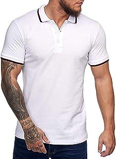 Mens Short Sleeve Polo Shirts Casual Golf Basic Polo Fit Tshirts M-2XL