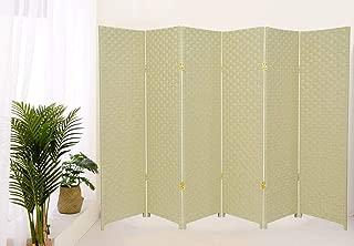 Legacy Decor Weave Design Fiber Room Divider (6 Panel, Ivory)