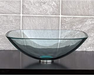 square clear glass vessel sink