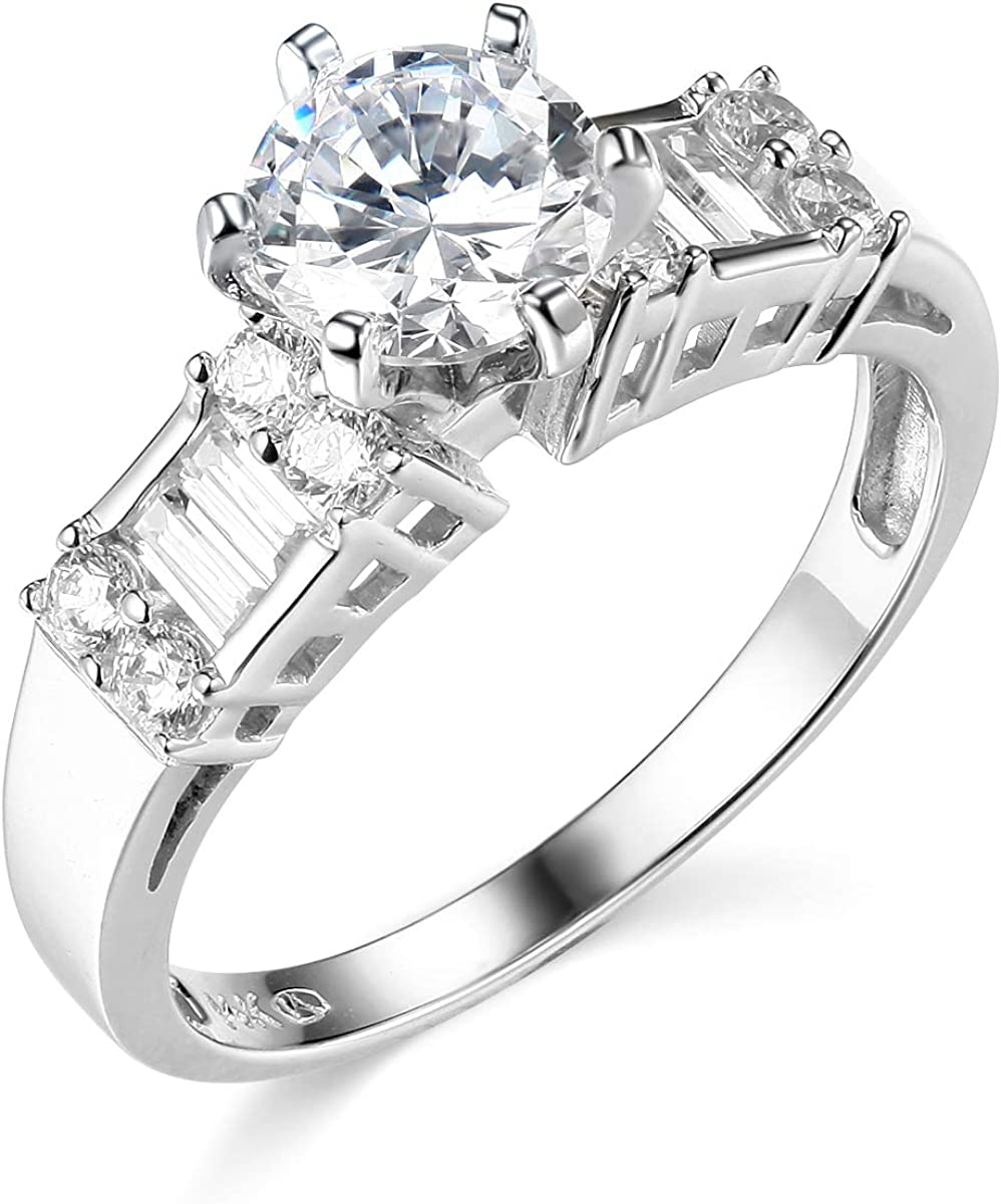 14k Yellow OR White Gold SOLID Wedding Engagement Ring and Wedding Band 2 Piece Set