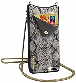 Leather Wallet Purse Phone Case Compatible for iPhone 7 & 8 & 6 & 6s with Gold Studs Crossbody Strap Handsfree for Women Girls (Gray, 4.7inch)