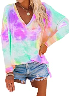 S-Fly Womens Casual V-Neck Tie Dye Long Sleeve Loose Fit T-shirt