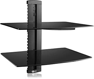 WALI Floating Strengthened Tempered Glass for DVD Players, Cable Boxes Games Consoles, TV Accessories (CS202), 2 Shelf, Black