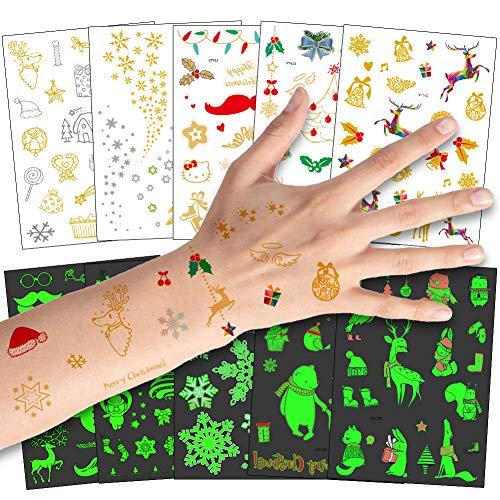 Bibivisa Grande Navidad Tatuajes Temporales Metlico & iluminan en la Oscuridad Estilo para Nios Nias, La Misa del Gallo Tatuaje Falso Pegatinas para Infantiles de Favor de Nochevieja Fiesta Regalo