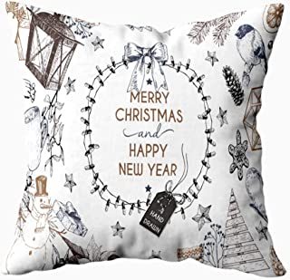 HerysTa Pillow Covers Christmas, Home Cotton Throw Pillow Case Invisible Zipper Cushion Cases Christmas Greeting Card Icons Xmas Engraved Objects Lighting Wreath Square Sofa Bed Decor 20X20 Inches