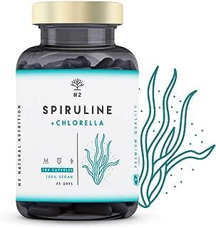 Chlorelle Spiruline Comprimés 1250mg. Puissant Antioxydant Renforce le Système Immunitaire Réduit la Fatigue Elimine les Métaux Lourds. 180 Capsules Végétale. Certifié VÉGAN. UE N2 Natural Nutrition