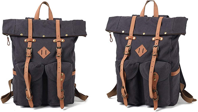 AHWZ Canvas Leder Rucksack, Travel Walking Camping Rucksack Pack, Large Casual Daypack, College School Rucksack, Shoulder Bags Fits Laptop Tablets