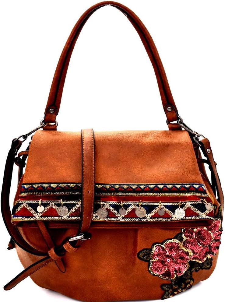 Vintage Sequin Flower Embroidered PU Leather Boho Tote Hobo Shoulder Bag Purse (Shoulder Bag - Brown)
