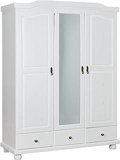 Inter Link Armoire penderie rustique champêtre à portes battantes miroir intégré Pin massif vernis blanc