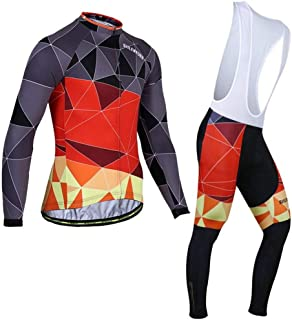 Bike Jersey Set Winter Jersey Men's Plus Velvet Long Sleeve Strap Set Riding Pants Men's Equipment Bike Jersey LPLHJD