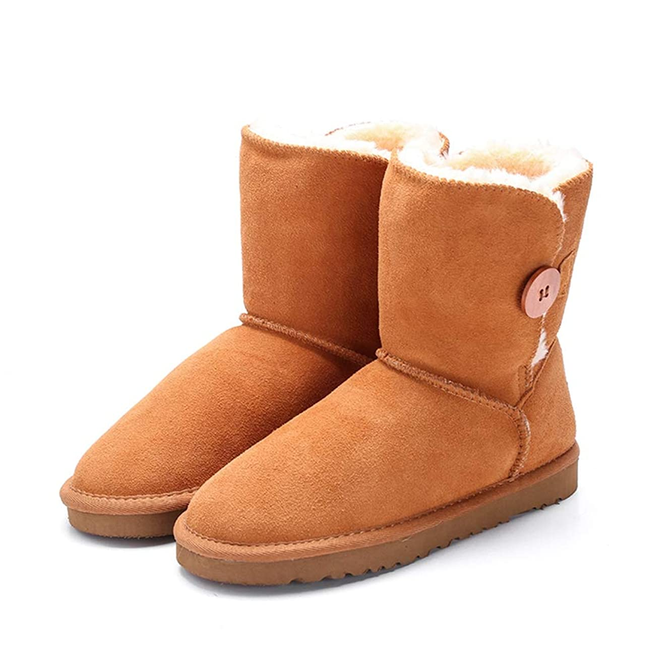 Women's Mid-Calf Snow Boots Fashion Genuine Leather with Buckle Winter Plush Solid Flat Boots Shoes