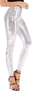 Women's All Sequined Sparkle Party Stretchy Leggings Bling Tights High Waist Pants