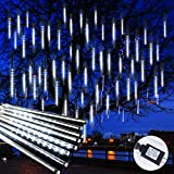 Meteor Shower Christmas Icicle Lights Outdoor, 11.8 Inches 8 Tubes 192 Led Snowfall Lights Connectable, Waterproof Hanging Falling Rain Lights for Tree Bushes Holiday Party Christmas Decoration, White