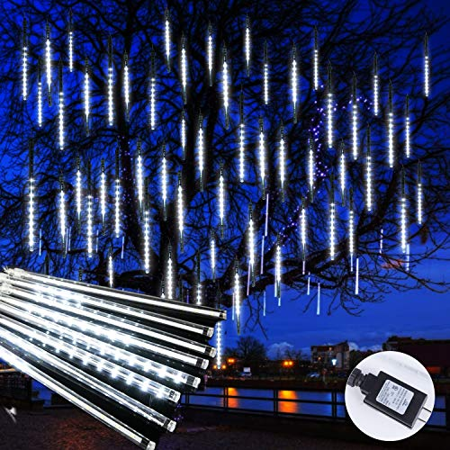 Meteor Shower Icicle Christmas Lights Outdoor, 11.8 Inches 8 Tubes 192 Led Dropping Lights Connectable, Hanging Falling Rain Lights for Tree Bushes Holiday Christmas Tree Lights, White