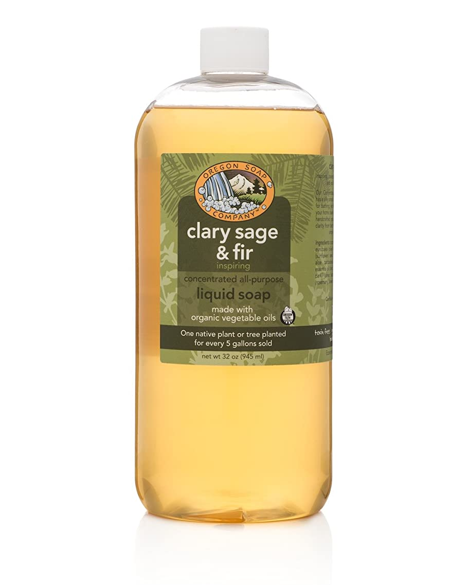 Oregon Soap Company - Liquid Castille Soap, Certified Organic and Natural Ingredients, Concentrated Multipurpose Clary Sag & Fir Castile Soap (32 oz, Clary Sage & Fir)