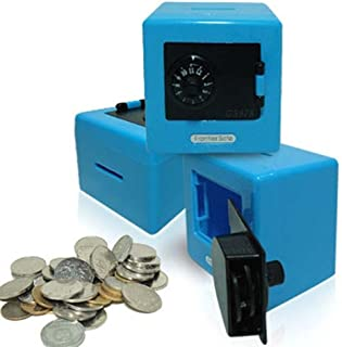 Ducklingup Money Saving Collection Box Combination Lock Code Cash Coins Saving Piggy Safe Bank Toys (Blue)