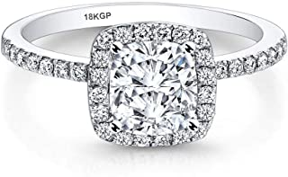 AndreAngel White Gold Plated 18K 3 Microns Thickness Over Sterling Silver Solid 925 Halo Engagement Wedding Ring Women 6 mm 1.0 Carats Cubic Zirconia 5A+ Bridal Proposal Valentine's