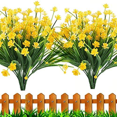 YYHMKB Flores Artificiales, 6 Piezas Plantas de Exterior Falsas Arbustos Verdes de plástico sintético Jardinera Colgante para Interior y Exterior Hogar Cocina Decoración de Boda Amarillo