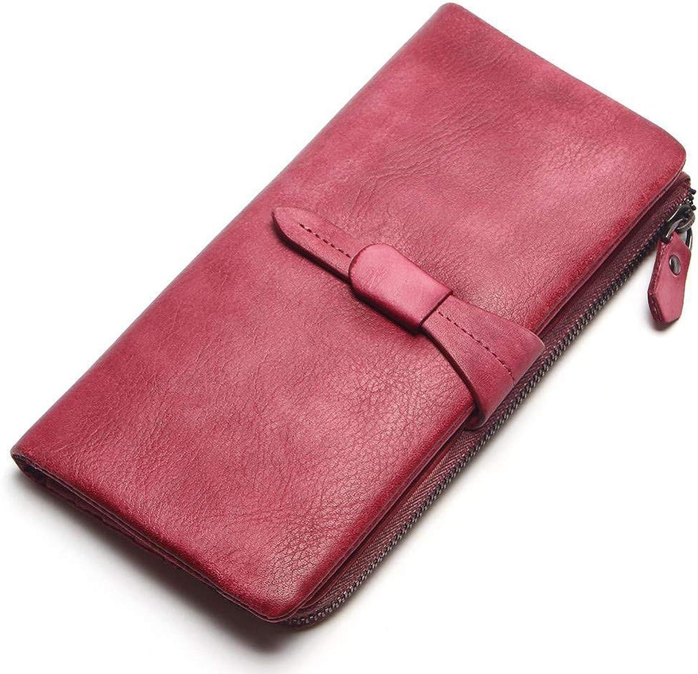 Women's Wallet Long, Leather Zipper Buckle Wallet Handbag, Women's 12Card Wallet Head Layer Leather Handbag, red