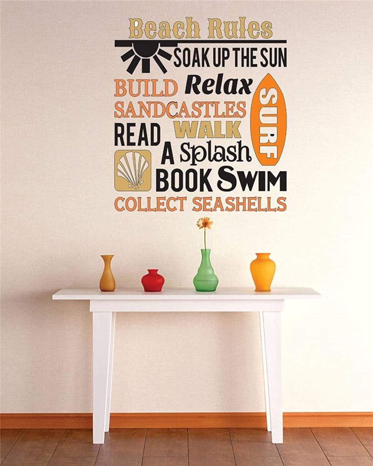 Vinyl Wall Decal Sticker   Beach Rules Soak Up The Sun Relax Surf Swim Build Sandcastles Collect Sea Shells Quote Bedroom Bathroom Living Room Picture Art Peel & Stick Mural Size  30 Inches X 46 Inches  22 colors Available