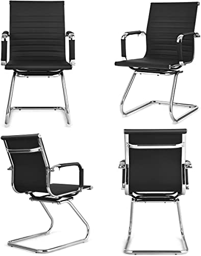 popular Giantex Conference Chair Set of 4 Heavy Duty PU Leather high quality W/Protective Arm Sleeves online and Sled Base Office Chair for Waiting Room,Conference Room,Guest Reception Guest Chairs (4 Pack, Black) outlet online sale