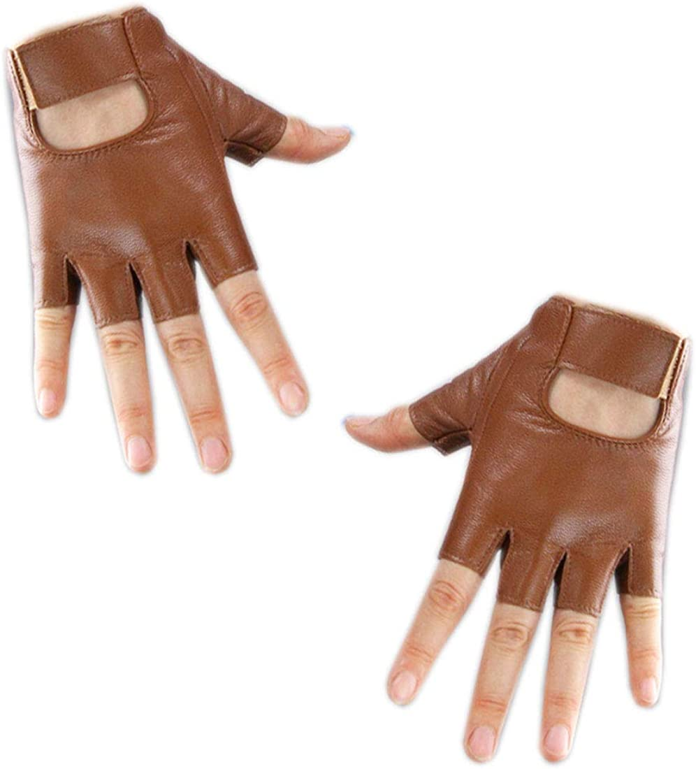 Unisex Sheep Half Finger Gloves Lambskin Glossy Finger Gloves Cosplay Matching Sports Riding Gloves